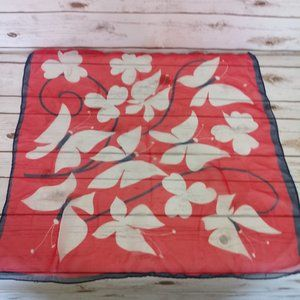 Red Butterfly Silk Scarf Rolled Edges